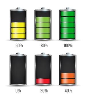 Unterschiedliche ladezustand der batterie.