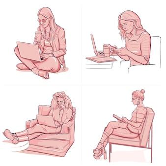 Unterschiedliche leute, die im büro mit laptop-zeichnung arbeiten