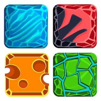 Unterschiedliche materialien und texturen. edelsteine gesetzt