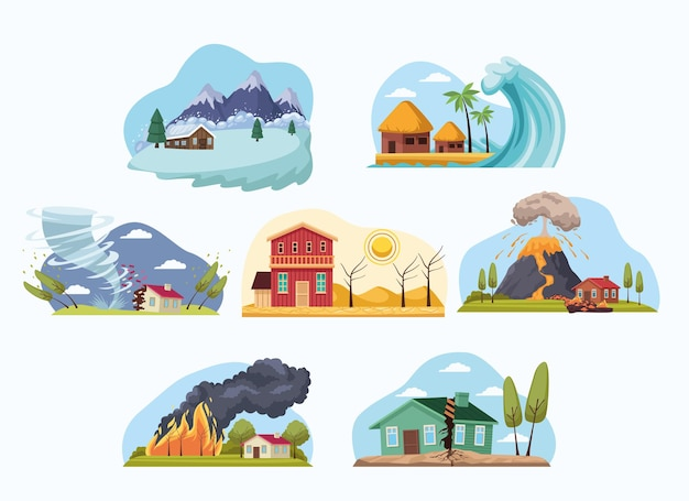 Unterschiedliche naturkatastrophen