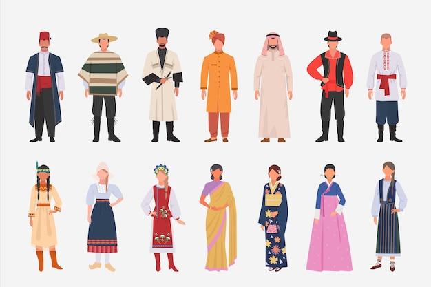 Unterschiedliche personen nationalitäten in ethnischer kleidung eingestellt