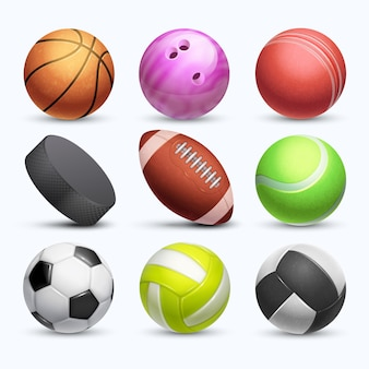 Unterschiedliche sammlung der bälle des sports 3d lokalisiert