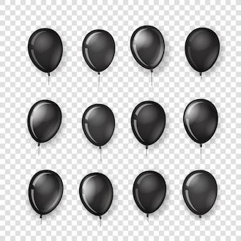 Unterschiedliche schwarze ballonsammlung lokalisiert auf transparentem