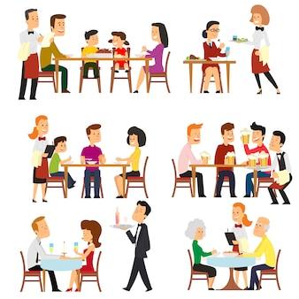 Unterschiedliche situationen im restaurant.