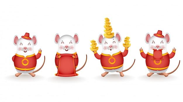 Unterschiedliche tätigkeit der karikatur-ratte chinesisches gold halten