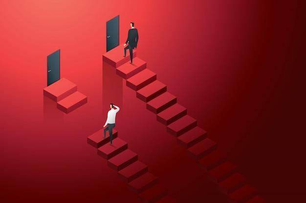 Unterschiedliche ungleiche karrieremöglichkeiten zwischen geschäftsleuten. illustration