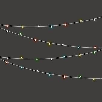 Unterschiedlicher farblichtgirlandenvektor stellte auf dunklen hintergrund ein. weihnachtsbeleuchtung
