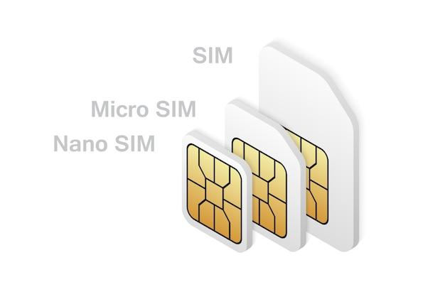 Unterschiedlicher sim-kartentyp im isometrischen stil.