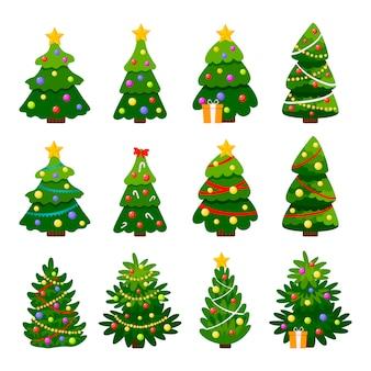 Unterschiedlicher weihnachtsbaumsatz