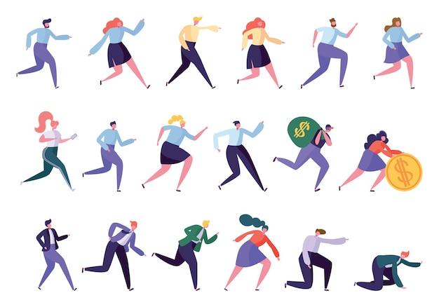 Unterschiedlicher zielerreichungssatz für verschiedene laufende charaktere. isolierte menschen laufen in verschiedenen lifestyle business worker leader manager räuber sportler. müde arbeiter flache karikatur vektor-illustration