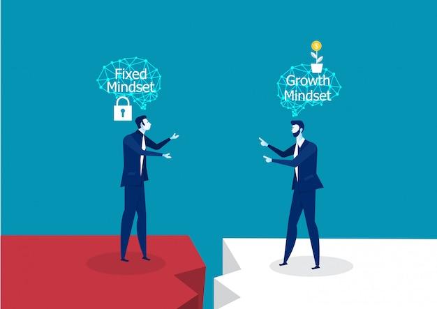 Unterschiedliches denken mit zwei geschäftsmännern zwischen örtlich festgelegtem mindset gegen wachstums-mindset-erfolgskonzept