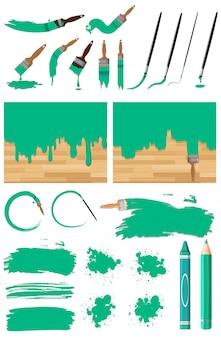 Unterschiedliches design der aquarellmalerei in grün auf weißem hintergrund