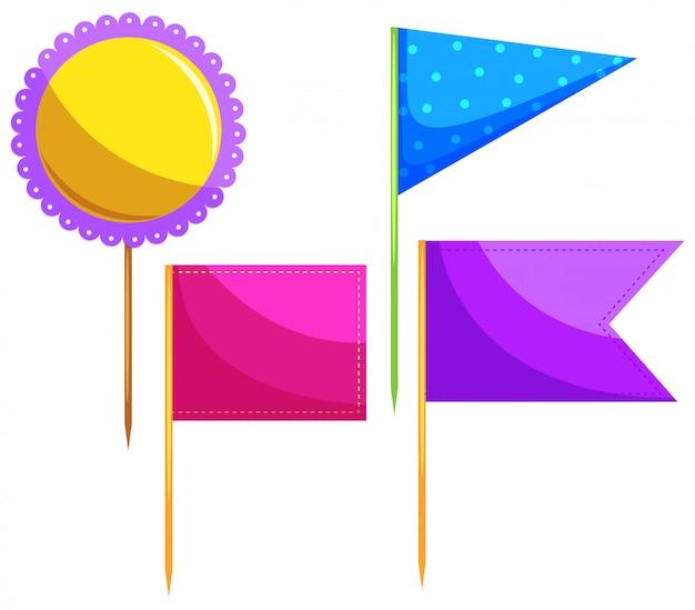 Unterschiedliches design der lebensmittelflagge