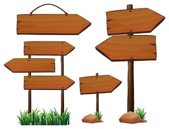 Unterschiedliches Design von Holzschildern