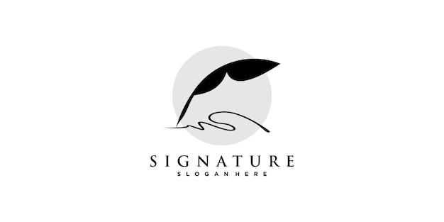 Unterschrift logo abstrakt mit kreativem stil premium-vektor