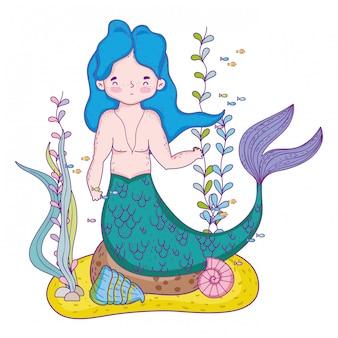 Unterseeische Szene der männlichen Meerjungfrau