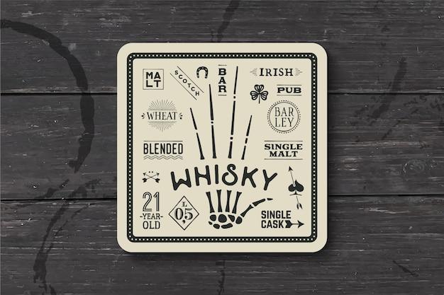 Untersetzer für whisky und alkoholische getränke. weinlesezeichnung für bar-, kneipen- und whiskythemen. schwarzweiss-quadrat zum platzieren des whiskyglases mit beschriftung, zeichnungen.