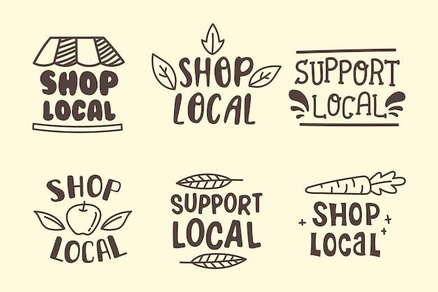 Unterstützen sie das lokale business lettering pack