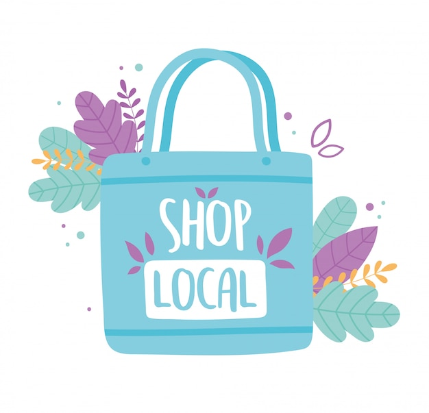 Unterstützen sie das lokale geschäft, kaufen sie eine kleine markt-öko-tasche mit blättern