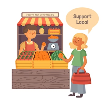 Unterstützen sie das lokale geschäftskonzept mit dem markt