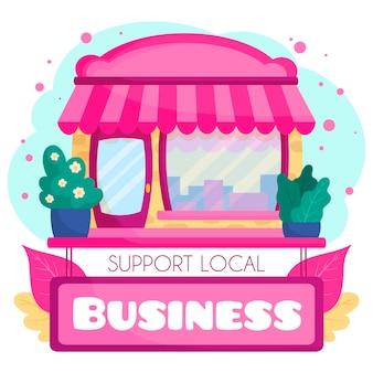 Unterstützen sie den lokalen business pink market