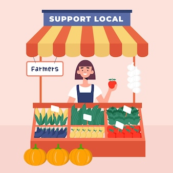 Unterstützen sie die illustration lokaler landwirte