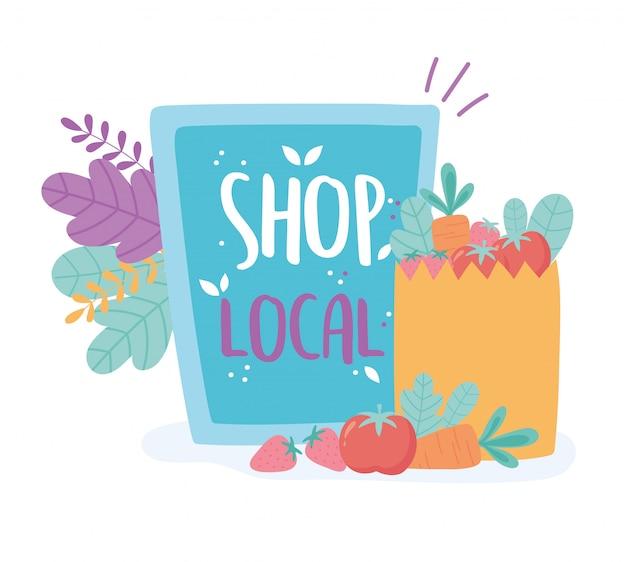 Unterstützen sie lokale unternehmen, kaufen sie kleine märkte, pappe und papiertüten mit lebensmitteln ein