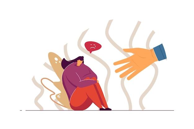 Unterstützende menschliche hand, die traurige frau flache illustration hilft
