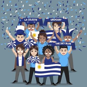 Unterstützergruppe der fußballnationalmannschaft von uruguay