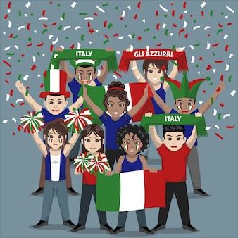 Unterstützergruppe der italienischen fußballnationalmannschaft