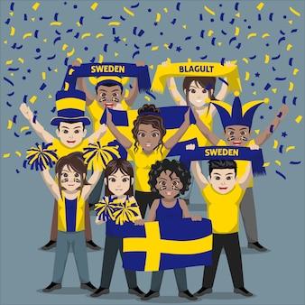 Unterstützergruppe der schwedischen fußballnationalmannschaft