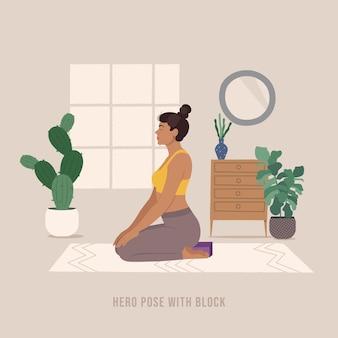 Unterstützte heldenpose junge frau, die yoga-pose praktiziert