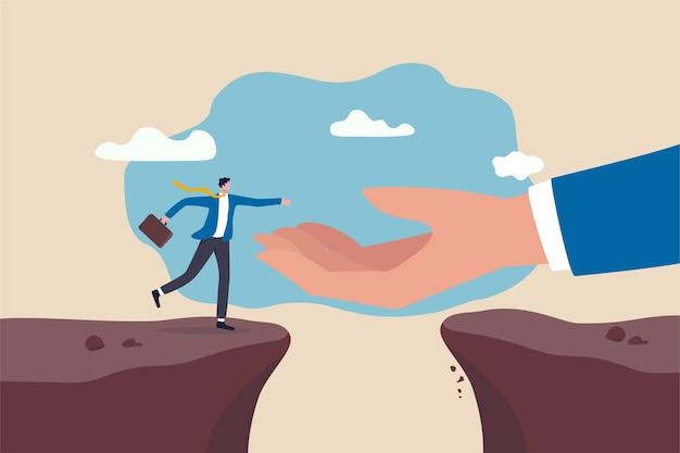 Unterstützung der hand bei der karriereentwicklung, lösung von geschäftsproblemen oder überwindung von hinderniskonzepten