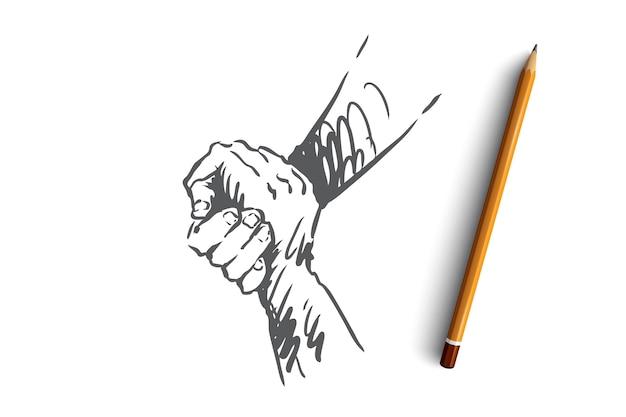 Unterstützung, hilfe, freundschaft, zusammen, menschenkonzept. hand gezeichnete menschliche hände halten sich gegenseitig konzeptskizze.