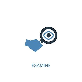 Untersuchen sie konzept 2 farbiges symbol. einfache blaue elementillustration. konzeptsymboldesign untersuchen. kann für web- und mobile ui/ux verwendet werden