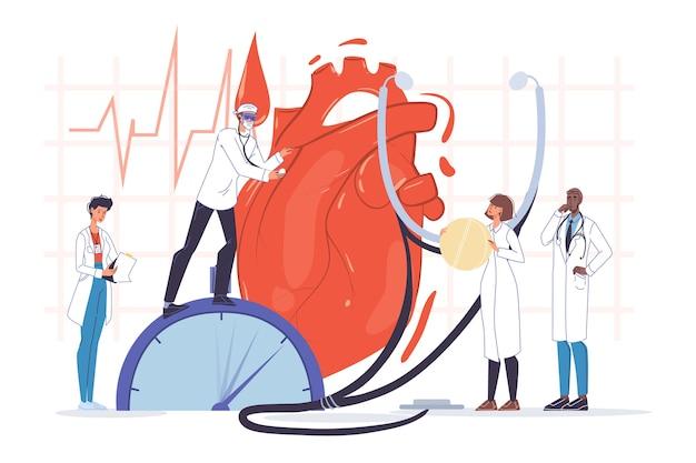 Untersuchung des menschlichen herzens. doktor kardiologe team in uniform, stethoskop. kardiogramm-ekg-testleitung. herzschlagcheck. herzgesundheit. kardiologie, medizin, gesundheitswesen. coronavirus-komplikationen