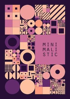 Unterteiltes rastersystem mit symbolen. objekte mit zufälliger größe und festem abstand dazwischen. futuristisches minimalistisches layout.