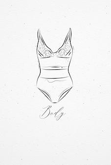 Unterwäsche, die in weinleseart auf aquarellpapierhintergrund bodydrawing ist