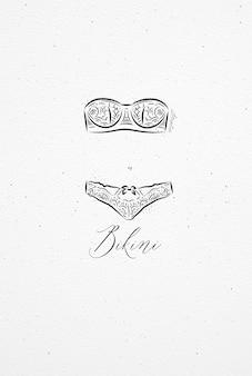 Unterwäschebikinizeichnung in der weinleseart auf aquarellpapierhintergrund