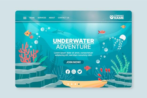 Unterwasser-abenteuerplakatschablone
