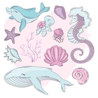 Unterwasser-karikatur-reise-tropischer vektor-illustrations-satz