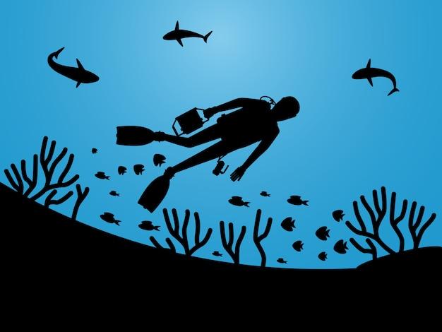 Unterwasser leben silhouetten