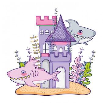 Unterwasser-schloss-cartoon