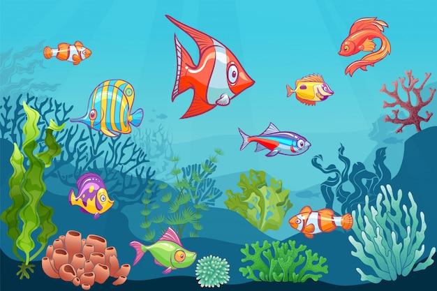 Unterwasser-seelandschaft. cartoon aquatisches meer wildes leben auf unterem hintergrund. fischclownkorallen-seetangkind-satz