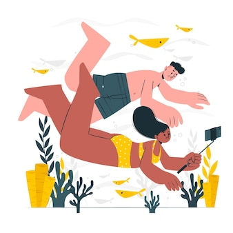 Unterwasser-selfie-konzeptillustration