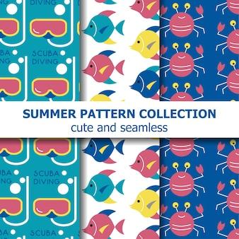 Unterwasser-sommermusterkollektion. sommer-banner. sommerferien. vektor