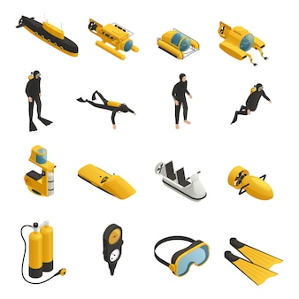 Unterwasserausrüstung isometrische icons set