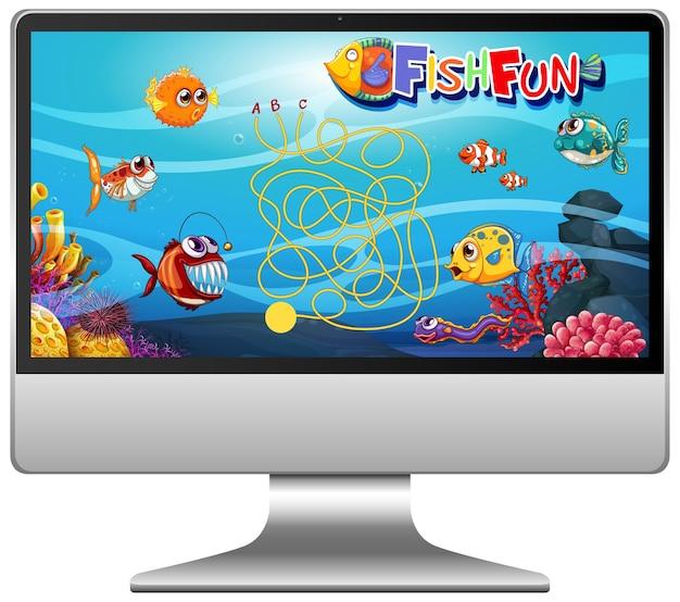Unterwasserfischspiel auf computerbildschirm