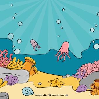 Unterwasserhintergrund mit karikaturen von wassertieren