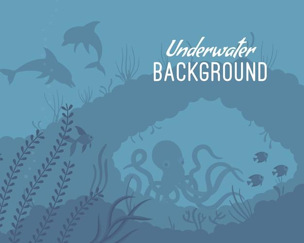 Unterwasserhintergrundschablone mit riff